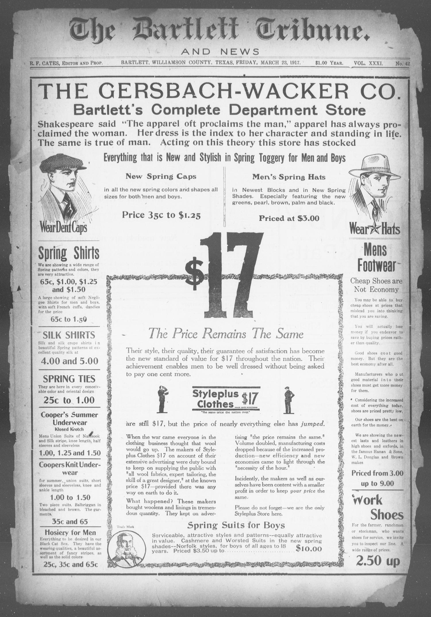 The Bartlett Tribune and News (Bartlett, Tex.), Vol. 31, No. 42, Ed. 1, Friday, March 23, 1917                                                                                                      [Sequence #]: 1 of 8
