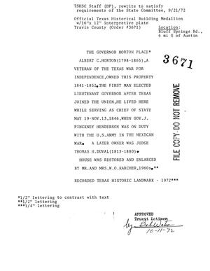 Historic Marker Application: The Governor Horton Place