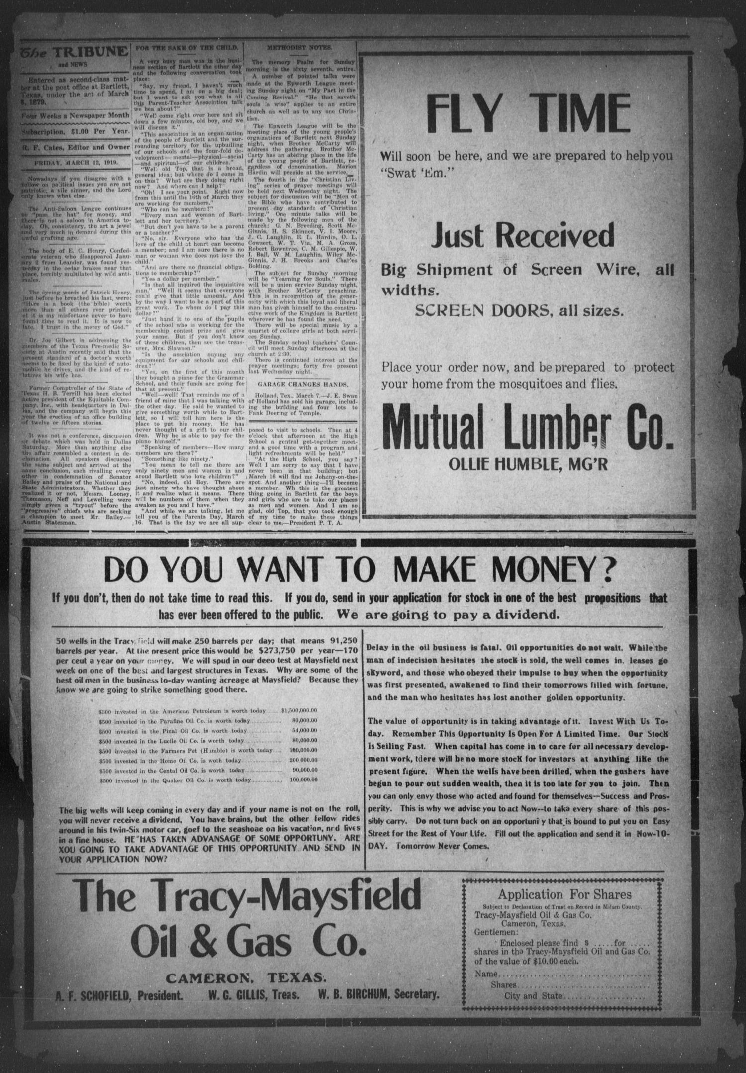 The Bartlett Tribune And News Tex Vol 34 No 38 Ed Wiring Money Near Me 1 Friday March 12 1920 Page 2 Of 8 Portal To Texas History