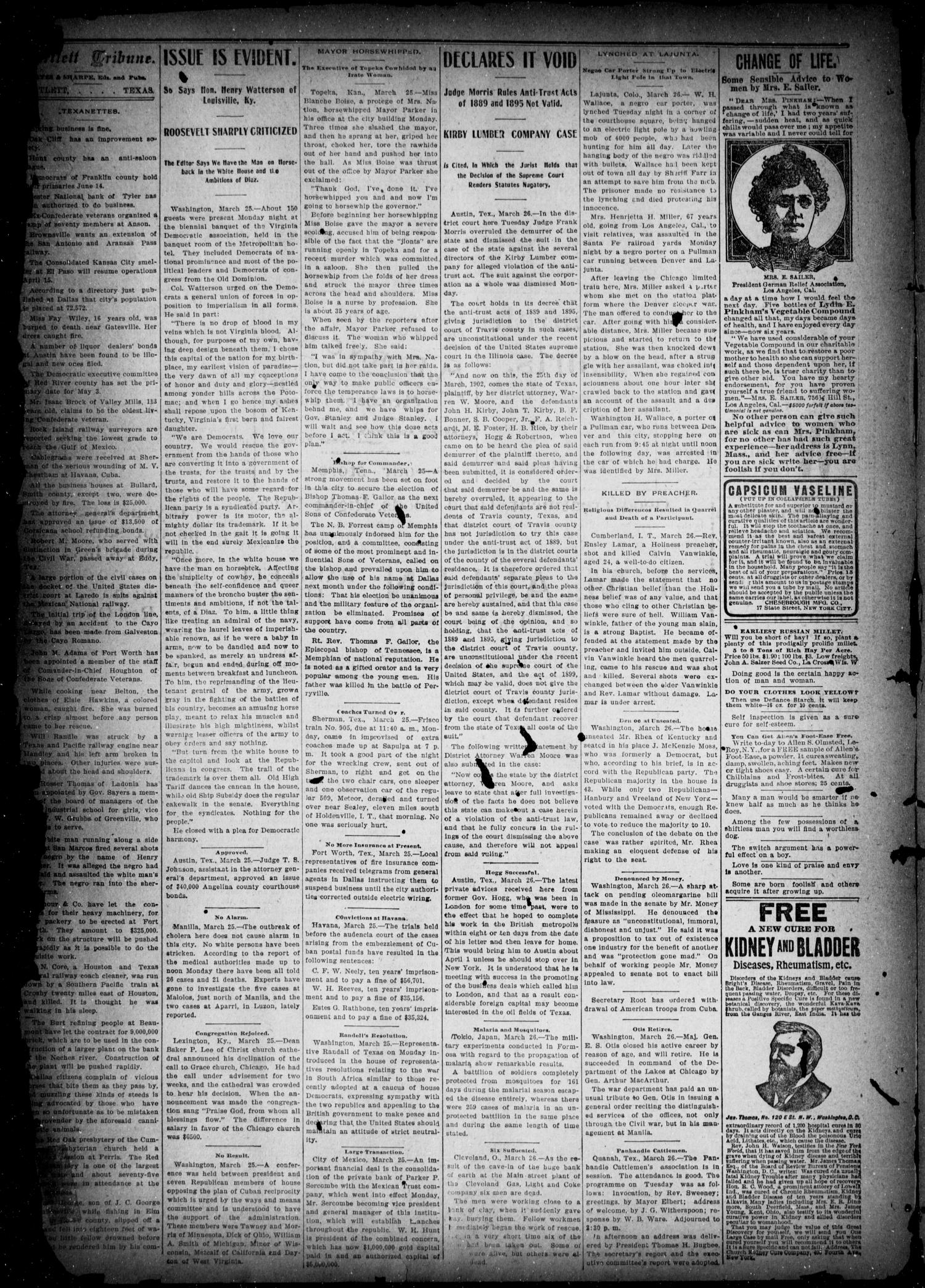 The Bartlett Tribune (Bartlett, Tex.), Vol. 16, No. 50, Ed. 1, Friday, March 28, 1902                                                                                                      [Sequence #]: 2 of 8