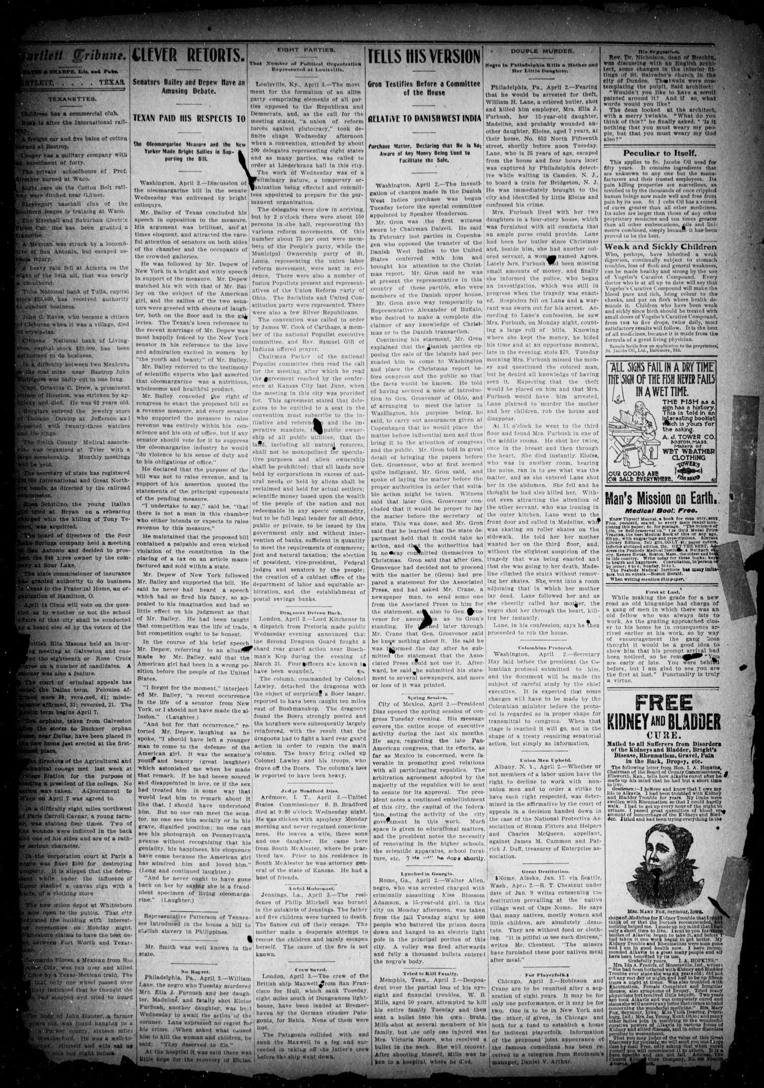 The Bartlett Tribune (Bartlett, Tex.), Vol. 16, No. 51, Ed. 1, Friday, April 4, 1902                                                                                                      [Sequence #]: 2 of 9