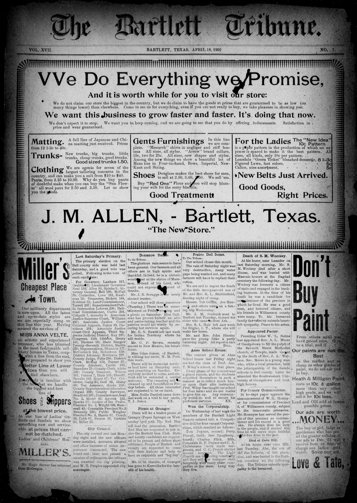The Bartlett Tribune (Bartlett, Tex.), Vol. 17, No. 1, Ed. 1, Friday, April 18, 1902                                                                                                      [Sequence #]: 1 of 9