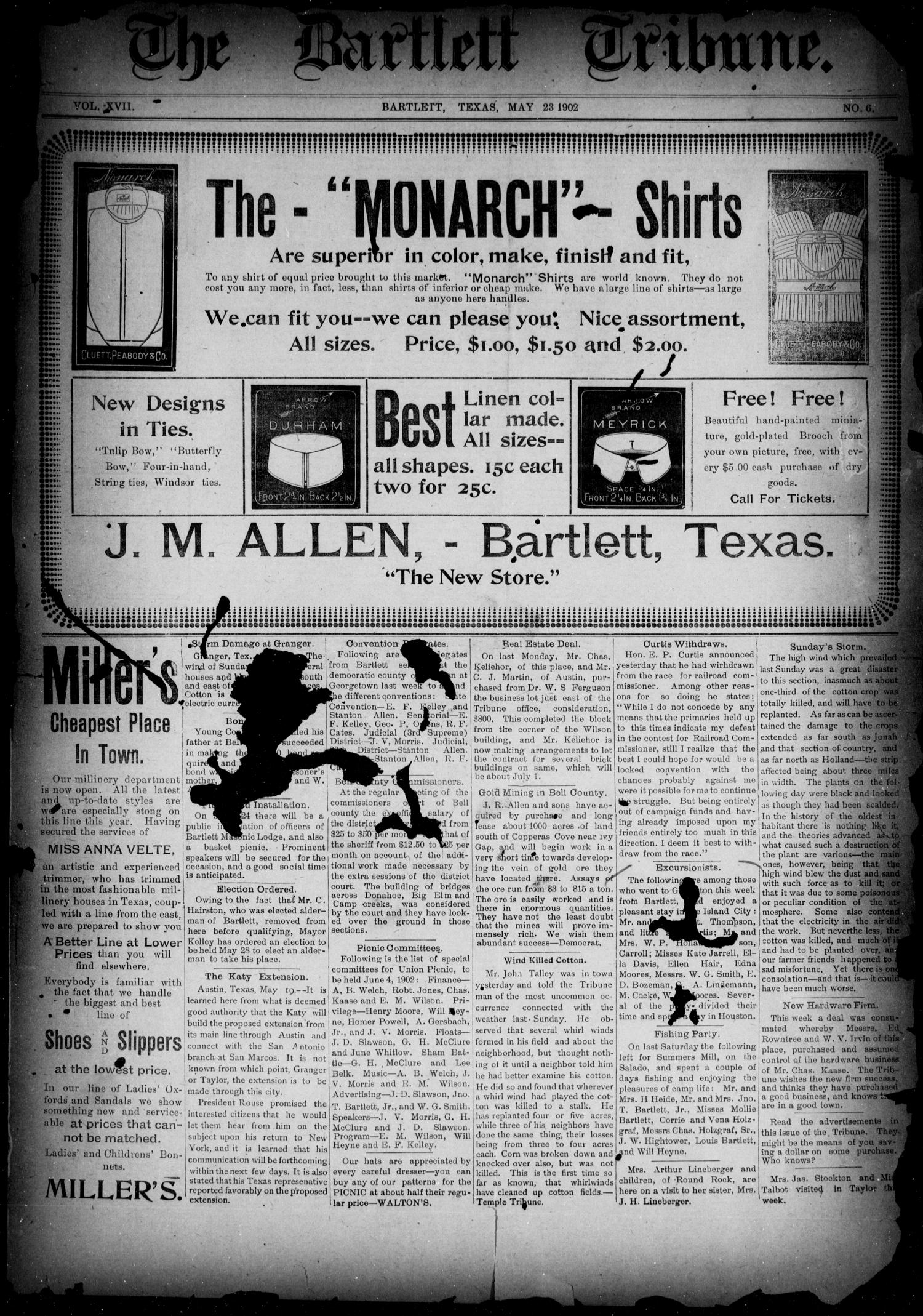 The Bartlett Tribune (Bartlett, Tex.), Vol. 17, No. 6, Ed. 1, Friday, May 23, 1902                                                                                                      [Sequence #]: 1 of 4