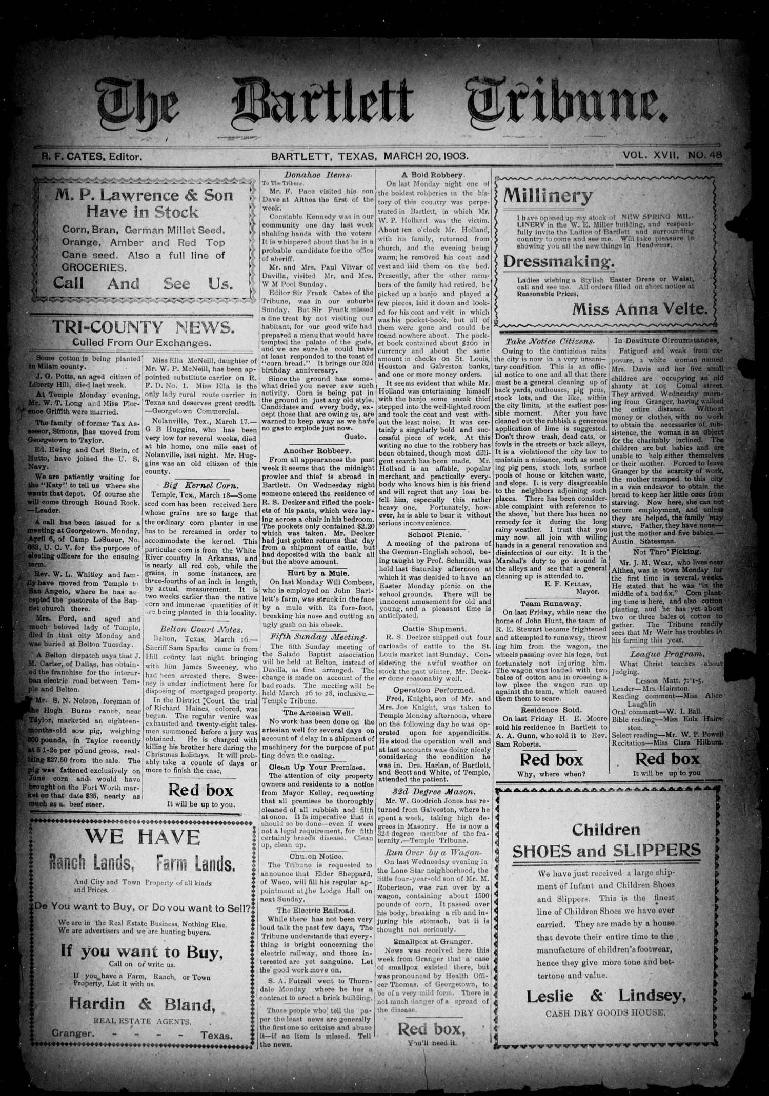 The Bartlett Tribune (Bartlett, Tex.), Vol. 17, No. 48, Ed. 1, Friday, March 20, 1903                                                                                                      [Sequence #]: 1 of 8