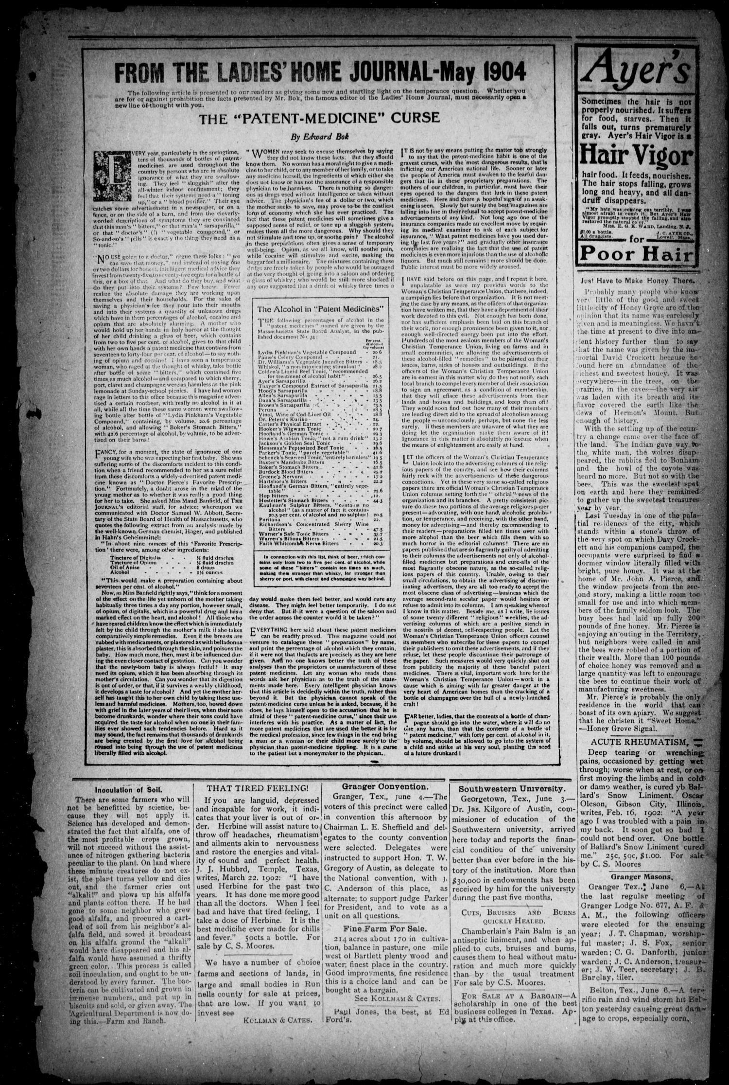 The Bartlett Tribune (Bartlett, Tex.), Vol. 19, No. 7, Ed. 1, Friday, June 10, 1904                                                                                                      [Sequence #]: 4 of 9