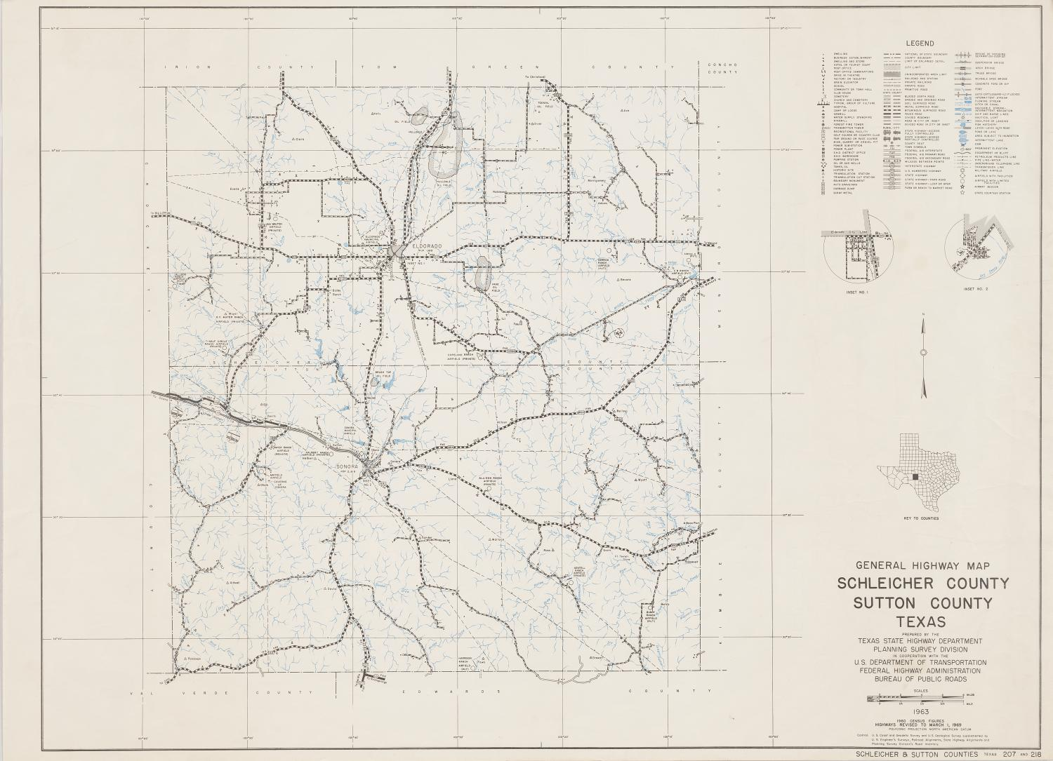 General Highway Map Schleicher County, Sutton County, Texas - The ...