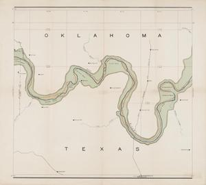 Primary view of object titled 'Map of valley of Red River in Texas, Oklahoma, and Arkansas between meridian 96°30′ and 98° west longitude: From topographic maps of the U.S. Geological Survey'.