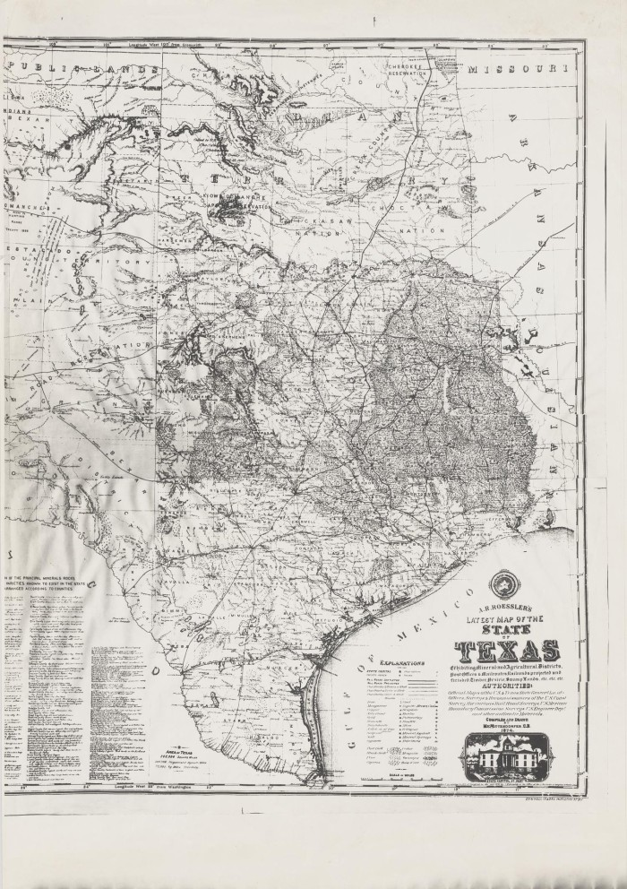 A R Roesslers Latest Map Of The State Of Texas The - Map of the state of texas