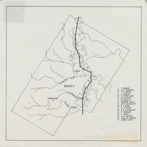 Primary view of object titled '[Map of DeWitt County]'.