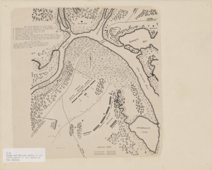 Map Of The Battlefield Of San Jacinto The Portal To Texas History