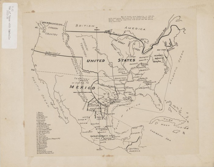 Map Of Texas 1835.Map Of Texas With Coahuila In 1835 36 The Portal To Texas History