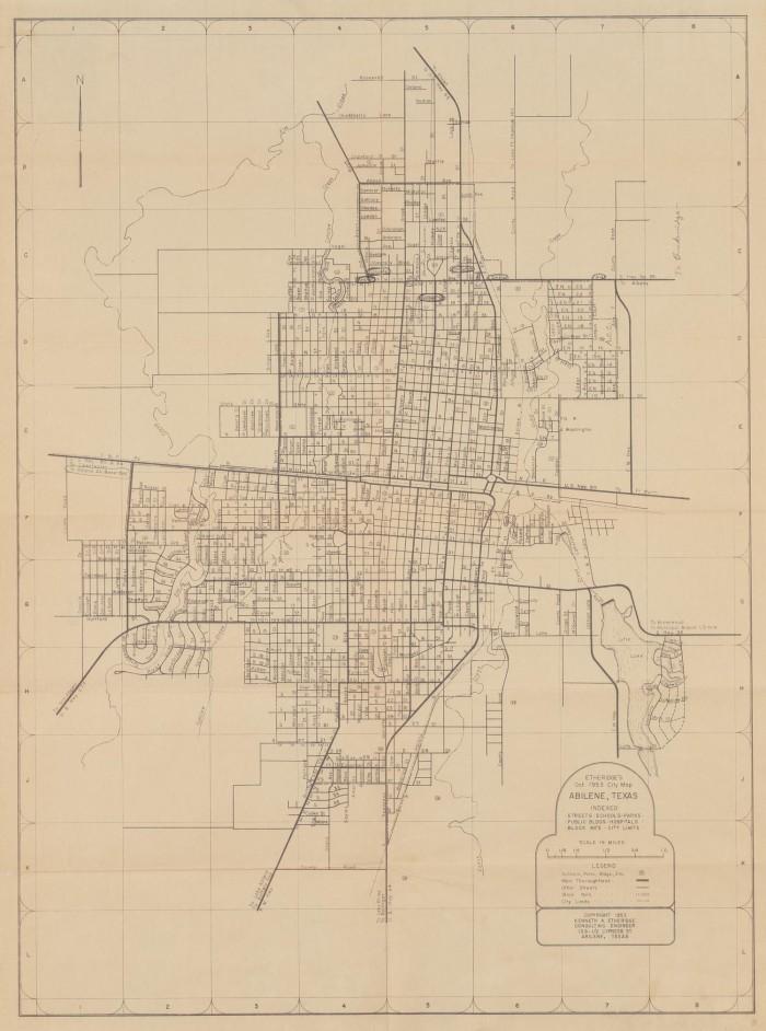 Etheridges Oct 1953 City Map Abilene Texas The Portal to Texas