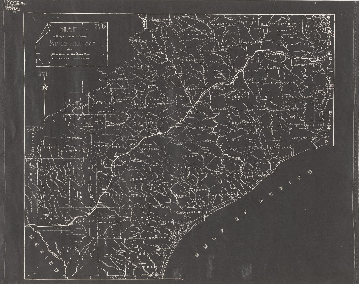 Map showing location of the original King's Highway from Sabine River to Rio Grande River, marked by DAR of Texas.                                                                                                      [Sequence #]: 1 of 1