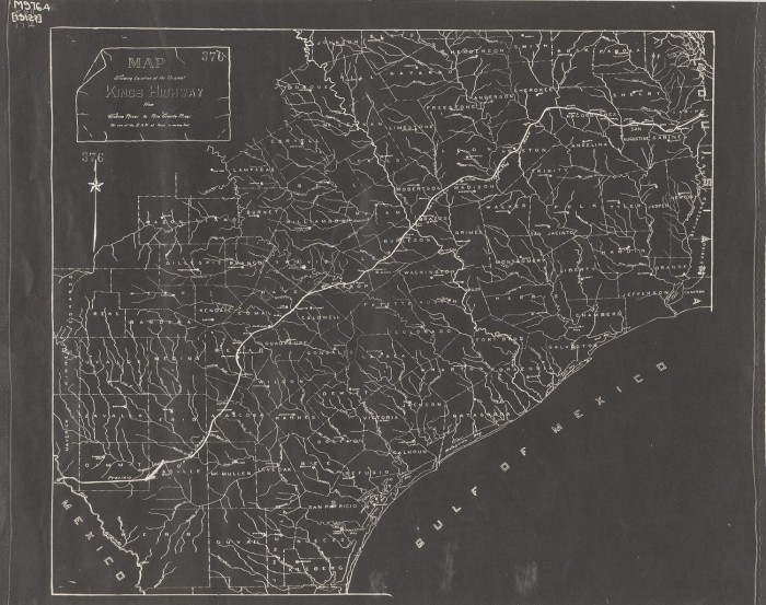 Map showing location of the original King\'s Highway from Sabine ...