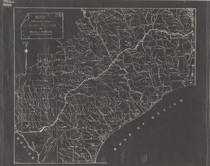 Primary view of object titled 'Map showing location of the original King's Highway from Sabine River to Rio Grande River, marked by DAR of Texas.'.