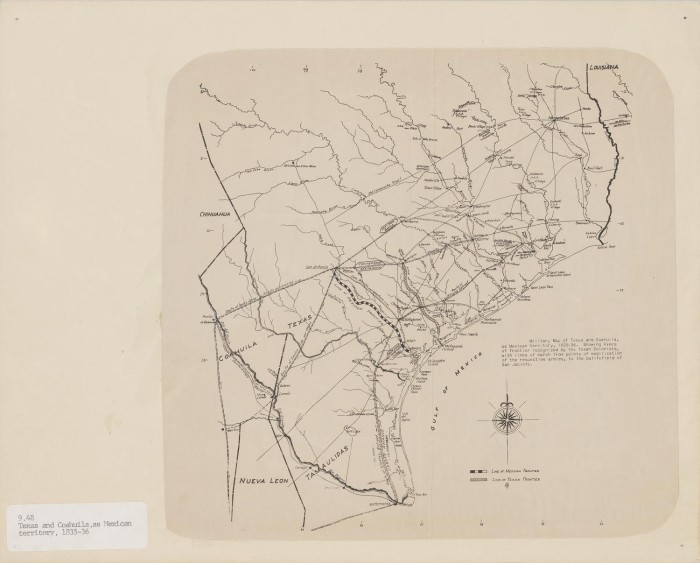 Map Of Texas 1835.Military Map Of Texas And Coahuila As Mexican Territory 1835 36