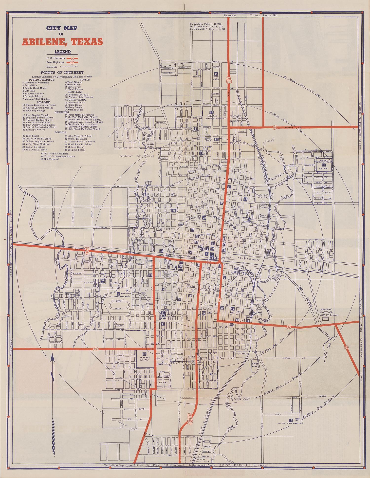 Map Of Abilene Texas City Map of Abilene, Texas   The Portal to Texas History