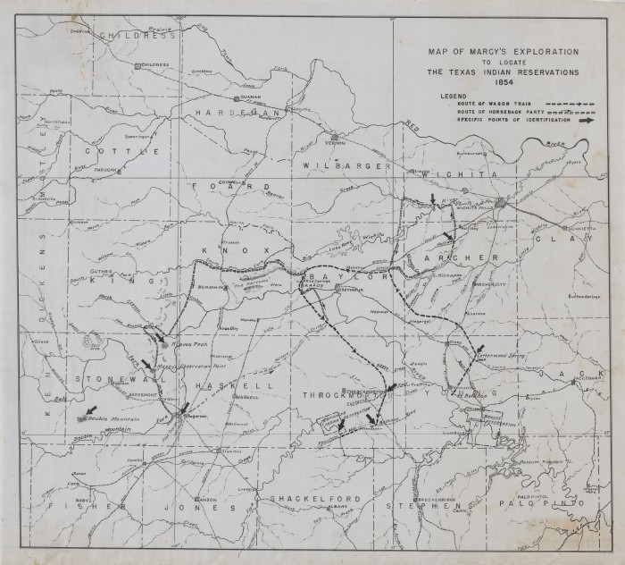 Map of Marcy's Exploration to Locate the Texas Indian Reservations Indian S In Texas Map on indians iowa map, indians new york map, indians in tennessee, indians in north carolina, indians utah map, indians of central texas, indians in texas history, indians in idaho, indians in washington state, indians in pennsylvania, indians ohio map, indians in rhode island, indians in south carolina, tonkawa indians map, indians in north dakota, indians in wisconsin,