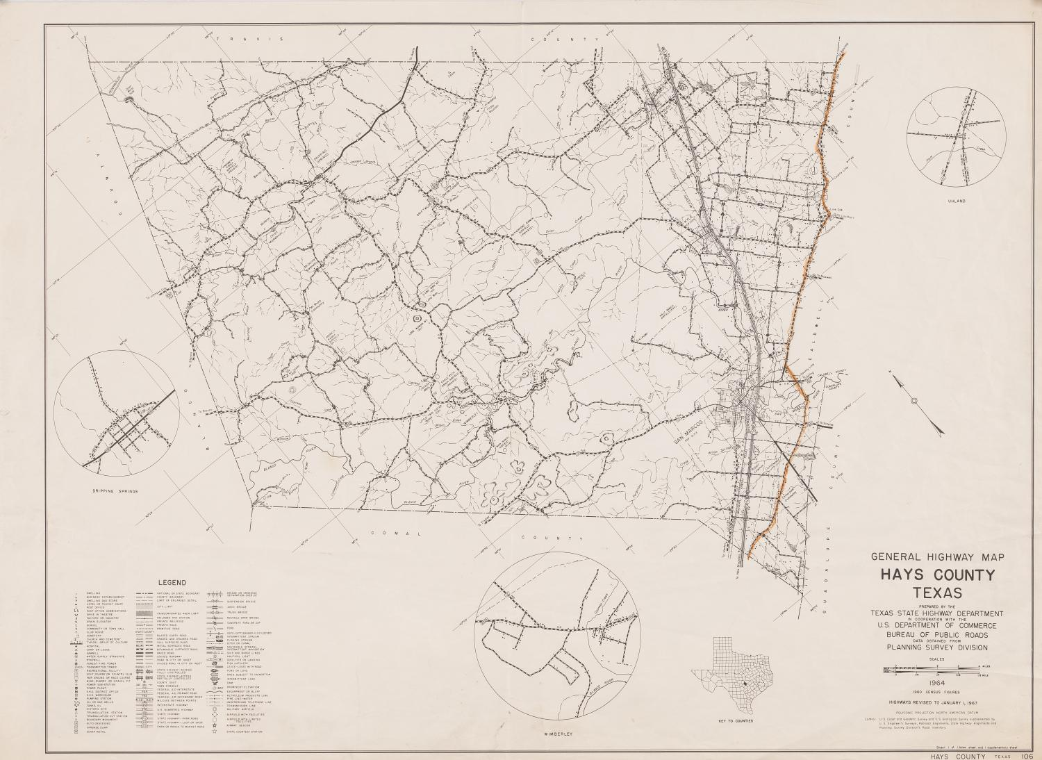 General Highway Map Hays County Texas  The Portal to Texas History