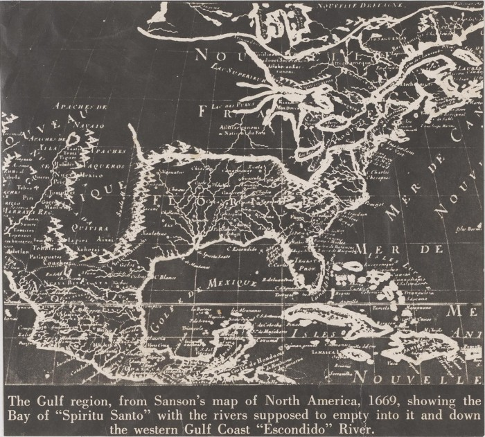 Map Of America Gulf Coast.The Gulf Region From Sanson S Map Of North America 1669 Showing