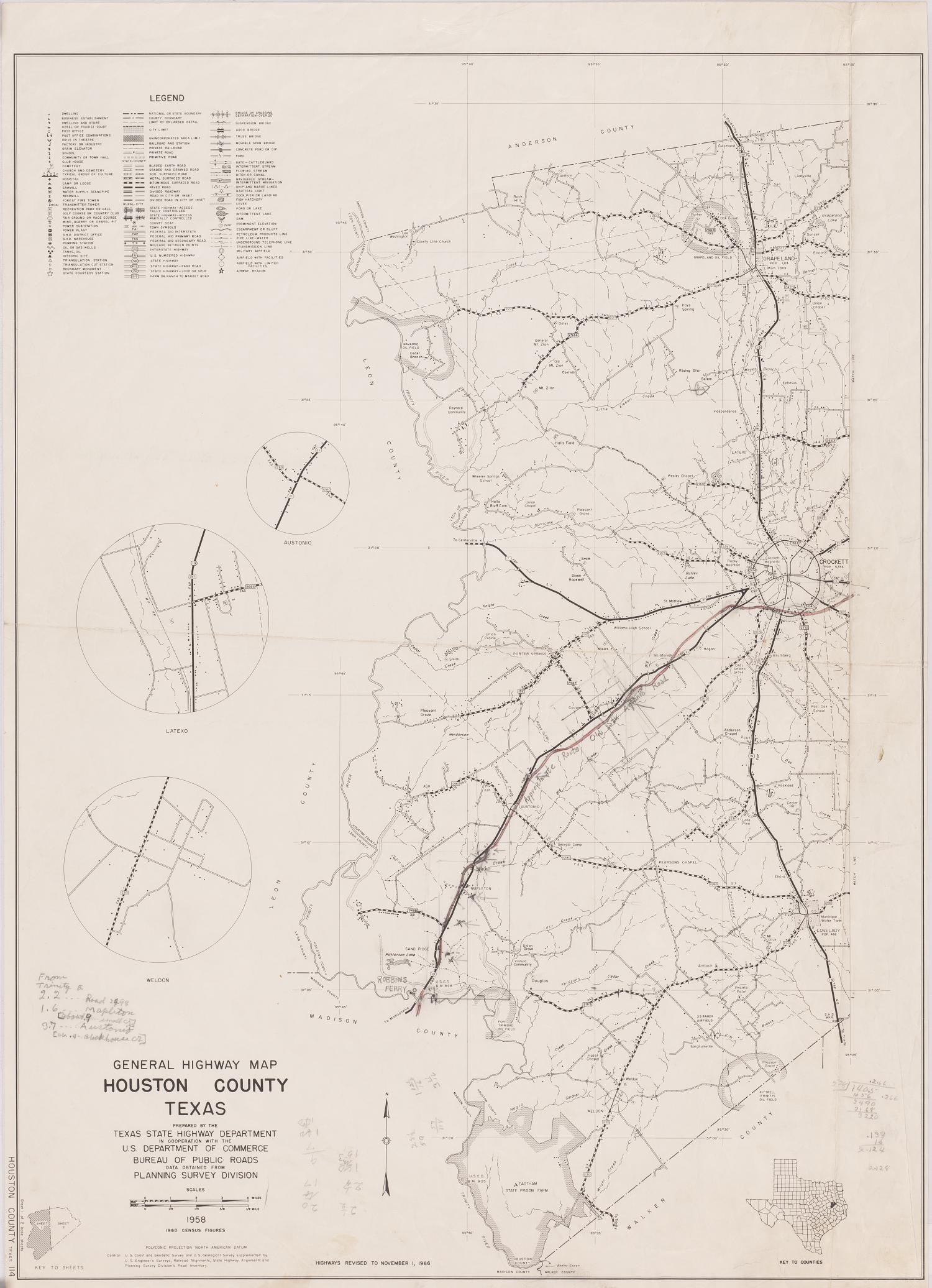 General Highway Map Houston County Texas  The Portal to Texas