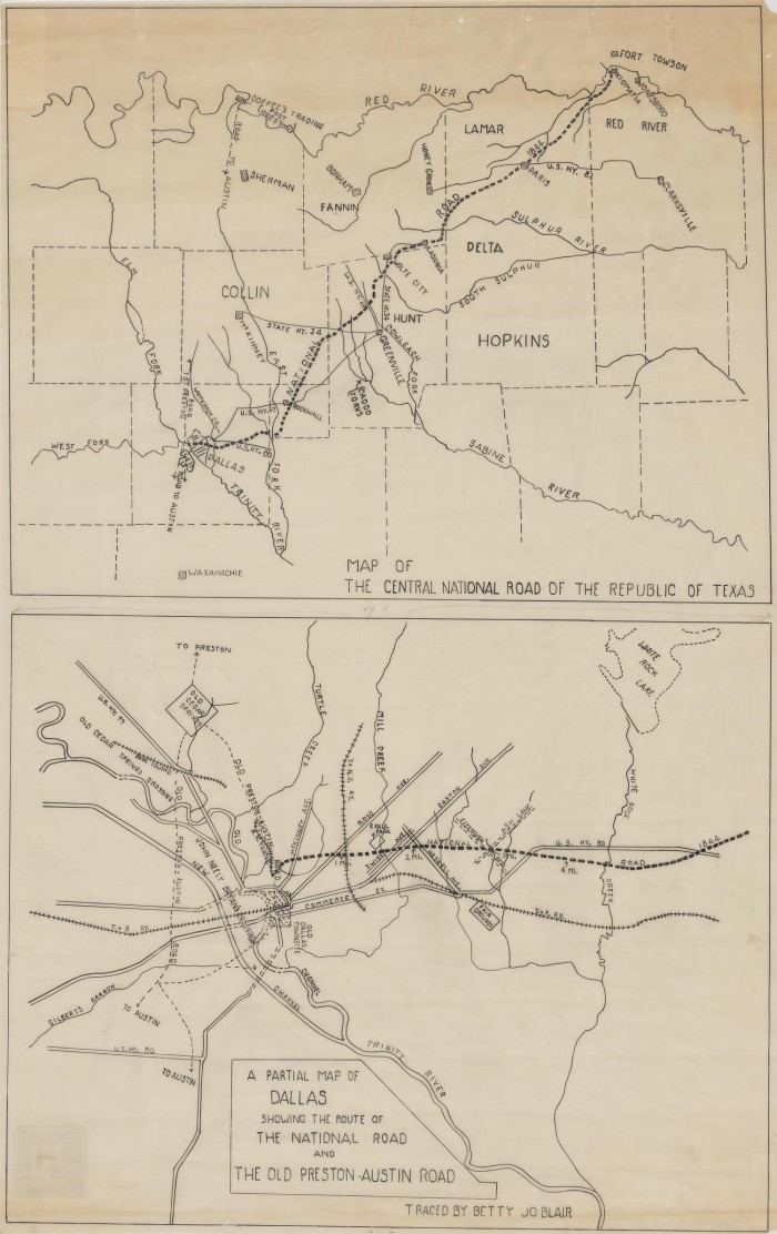 Old Dallas Map.A Partial Map Of Dallas Showing The Route Of The National Road And