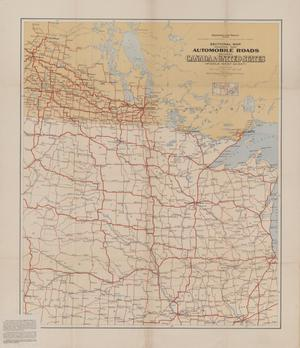 Primary view of object titled 'Sectional Map indicating main Automobile Roads between Canada and United States (Middle West Sheet).'.