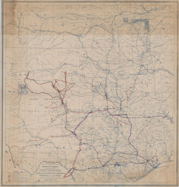 Trails Made And Routes Used By The Fourth Us Cavalry Under - Us-indian-territory-map