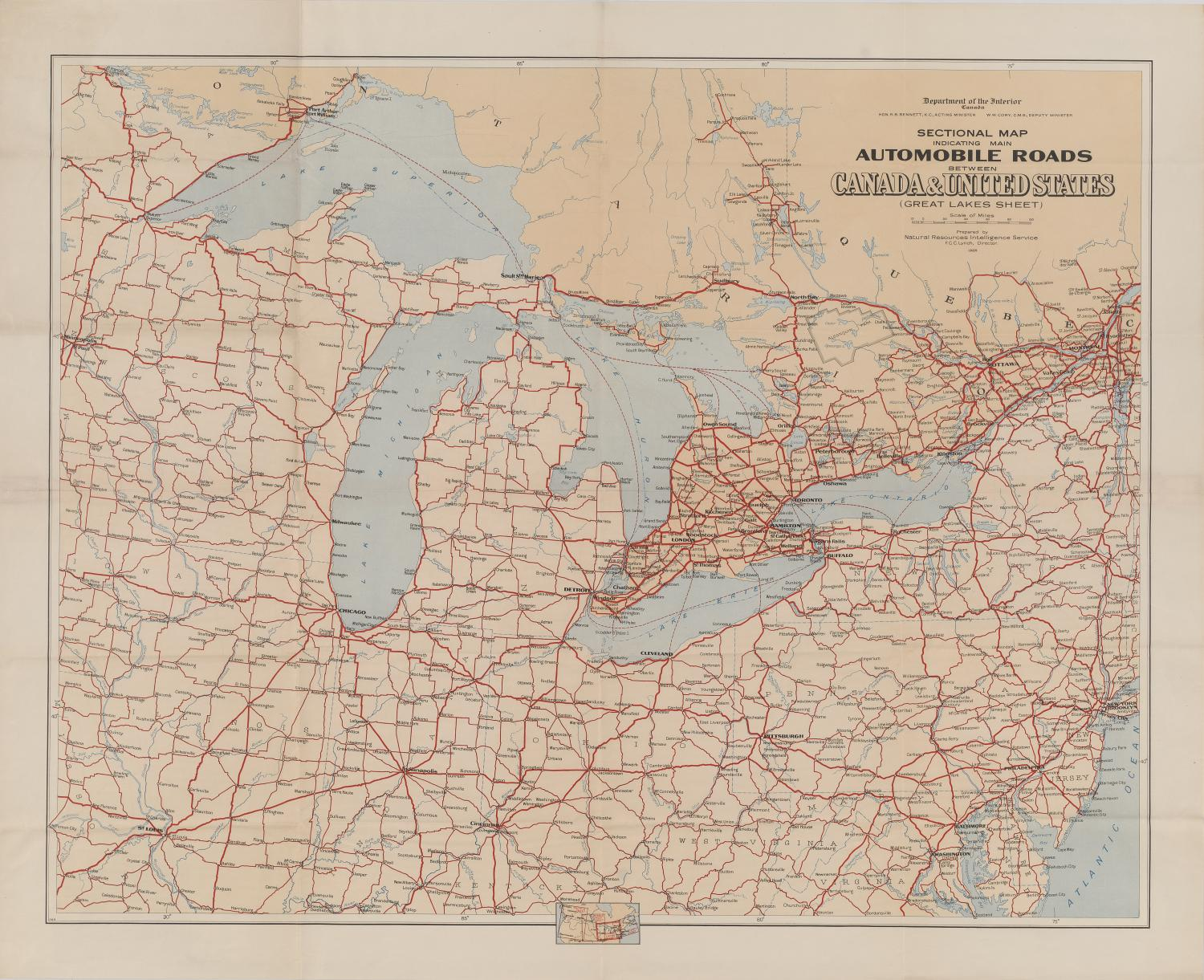 Sectional Map indicating main Automobile Roads between ...