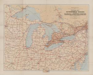 Sectional Map Indicating Main Automobile Roads Between Canada And - Us map great lakes