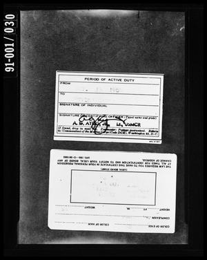 Primary view of object titled '[Back of Selective Service and Active Duty Cards]'.