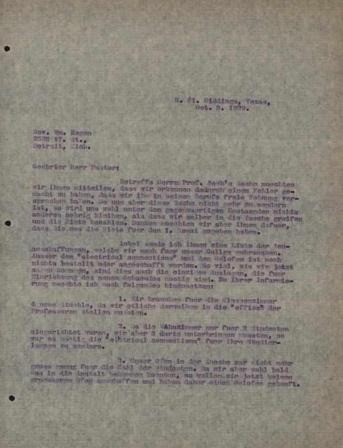 Letter from Concordia College Board of Control to William