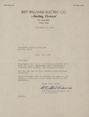 Primary view of object titled '[Letter from B. C. Williams to George Beto, February 11, 1948]'.