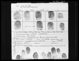 Primary view of object titled 'Fingerprint Card: Jack Leon Ruby'.