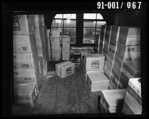Primary view of object titled 'Boxes in the Texas School Book Depository [Negative]'.