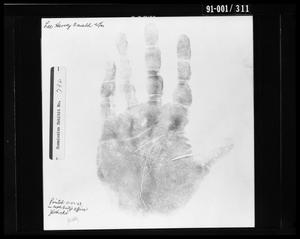 Primary view of object titled 'Fingerprint Card: Lee Harvey Oswald, Left Hand'.