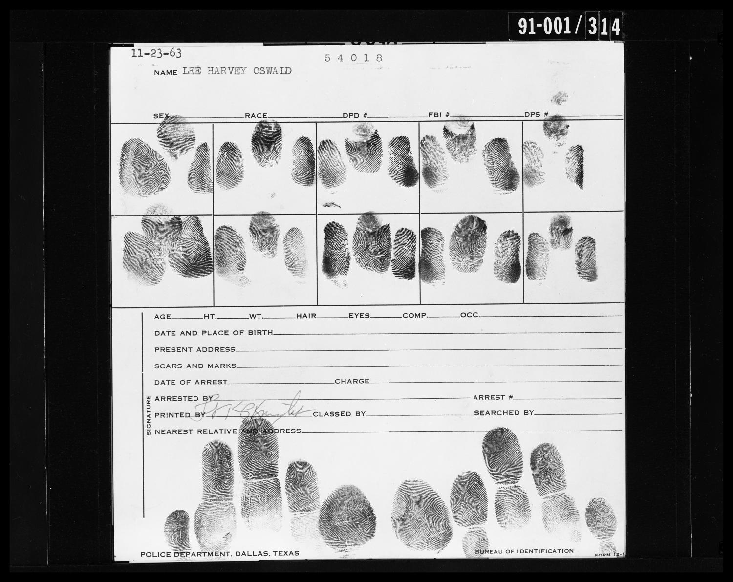 Fingerprint Card: Lee Harvey Oswald                                                                                                      [Sequence #]: 1 of 1
