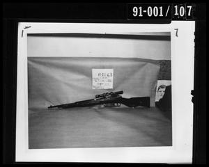 Primary view of object titled 'Evidence: Rifle and Police Artist Sketch [Negative #2]'.