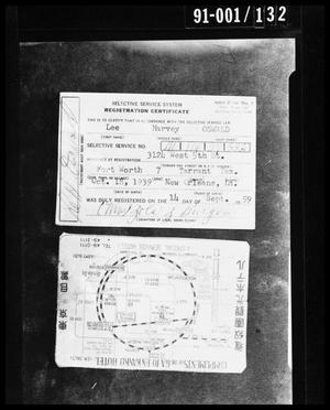 Primary view of object titled 'Evidence: Selective Service Registration and Tokyo Hotel Card'.