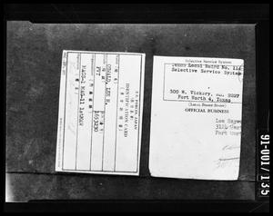 Primary view of object titled 'U.S. Forces  I. D. and Selective Service Ft. Worth Address'.