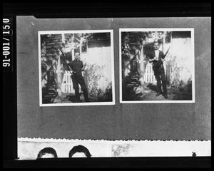 Enlarged Negative of 2 Poses with the Rifle in the Backyard