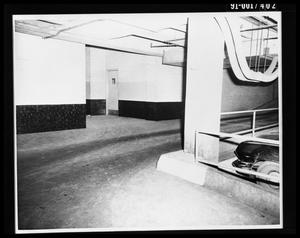 Primary view of object titled 'City Hall Basement, Southeast Door to Jail and Main Street [Print]'.