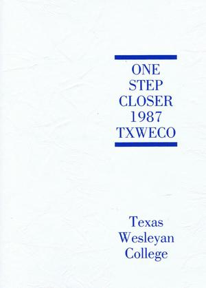Primary view of object titled 'TXWECO, Yearbook of Texas Wesleyan College, 1987'.