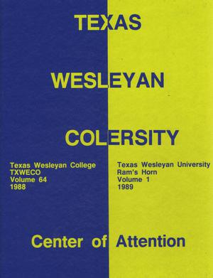 Primary view of object titled 'Ram's Horn, Yearbook of Texas Wesleyan University, 1989'.