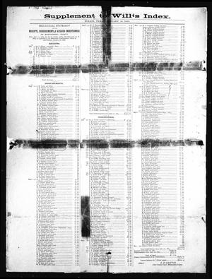 Primary view of object titled 'The Willis Index. (Willis, Tex.), Vol. [2], No. [1], Ed. 1 Friday, January 16, 1885'.