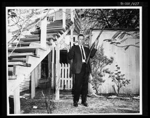 Primary view of object titled 'Man in Back Yard 214 Neeley Street'.