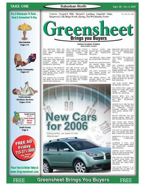 Primary view of object titled 'Greensheet (Houston, Tex.), Vol. 36, No. 402, Ed. 1 Wednesday, September 28, 2005'.