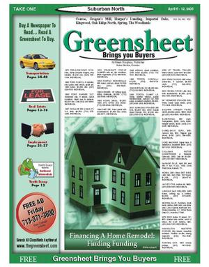 Primary view of object titled 'Greensheet (Houston, Tex.), Vol. 36, No. 102, Ed. 1 Wednesday, April 6, 2005'.