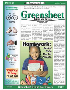 Primary view of object titled 'Greensheet (Houston, Tex.), Vol. 36, No. 330, Ed. 1 Wednesday, August 17, 2005'.