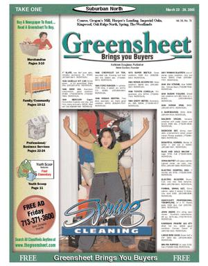 Primary view of object titled 'Greensheet (Houston, Tex.), Vol. 36, No. 78, Ed. 1 Wednesday, March 23, 2005'.